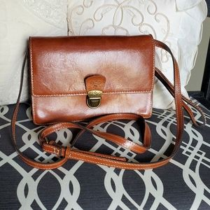 Patricia Nash brown leather crossbody purse clutch